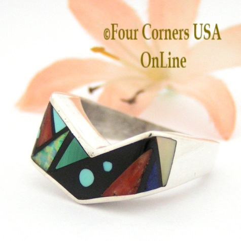 Multi Color Multi Stone Rings Four Corners USA OnLine Native American Navajo Zuni Jewelry