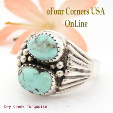 Large Size Dry Creek Turquoise Rings Four Corners USA OnLine Native American Navajo Silver Jewelry