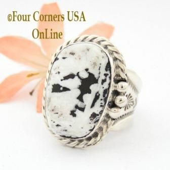 White Buffalo Turquoise Mens Rings Four Corners USA OnLine Native American Jewelry