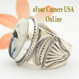 White Buffalo Turquoise Mens Rings Four Corners USA OnLine Native American Navajo Silver Jewelry