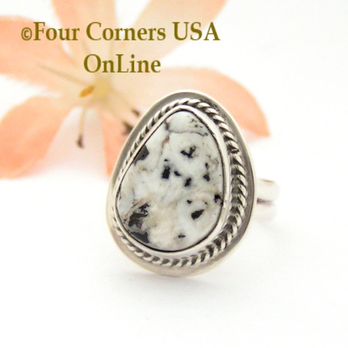 Size 4 White Buffalo Turquoise Ring Collection Four Corners USA OnLine Native American Navajo Silver Jewelry