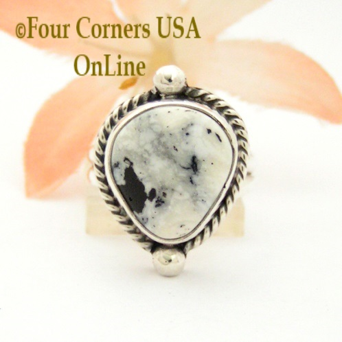 Size 5 White Buffalo Turquoise Ring Collection Four Corners USA OnLine Native American Navajo Silver Jewelry