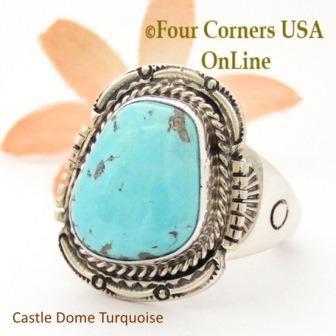 Size 13 1/2 Castle Dome Turquoise Stone Ring Navajo Artisan Edward Ganadonegro Four Corners USA OnLine Native American Jewelry