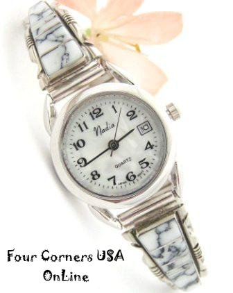 White Turquoise Inlay Watch Navajo Silver Steve Francisco Four Corners USA OnLine Native American Jewelry