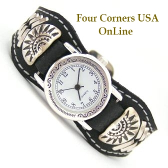 Women's Sterling Leather Watch Strap Southwest Face Four Corners USA Online Native American Indian Navajo Jewelry Frank Armstrong