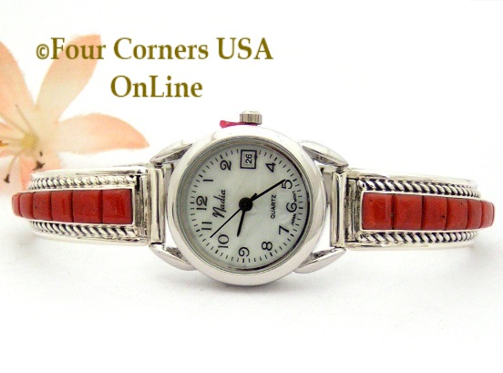 Coral Corn Row Inlay Womens Sterling Watch Four Corners USA OnLine Native American Jewelry