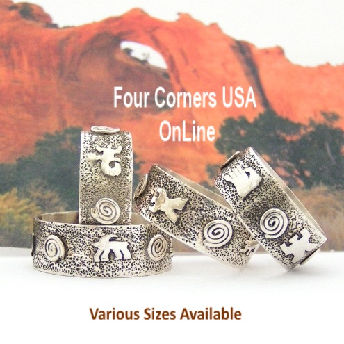 Sizes 7 to 13 Petroglyph Sterling Silver Band Ring Navajo Scott Skeets NAR-1626 Special Buy Final Sale Four Corners USA OnLine Native American Jewelry