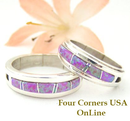 Pink Fire Opal Inlay Band Rings by Wilbert Muskett Jr. Four Corners USA OnLine Native American Indian Silver Jewelry