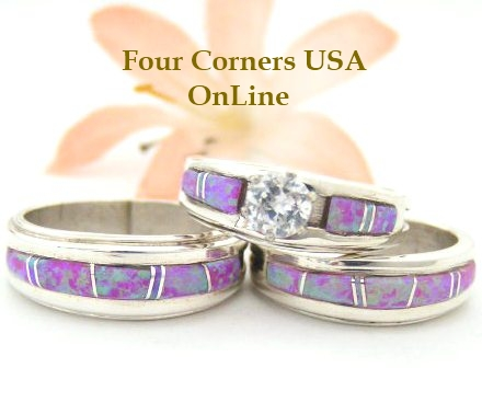 Pink Fire Opal Inlay Bridal Engagement Wedding Ring Sets by Wilbert Muskett Jr. Four Corners USA OnLine Native American Indian Silver Jewelry