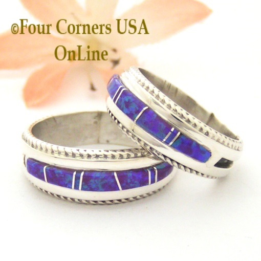 Purple Fire Opal Inlay Band Rings with Rope Accent Navajo Wilber Muskett Jr Four Corners USA OnLine Native American Jewelry