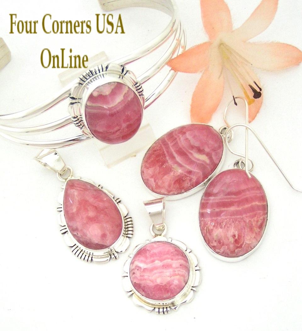 Rhodochrosite Native American Navajo Silver Jewelry Four Corners USA OnLine