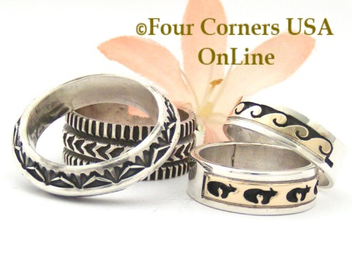 Navajo Silver Wedding Band Rings Four Corners USA OnLine Native American Jewelry