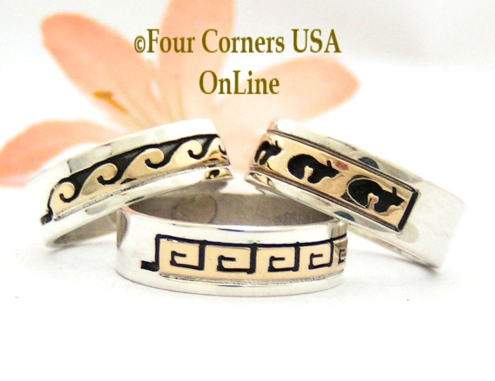 14K Gold Sterling Band Rings Navajo Skeets Family Four Corners USA OnLine Native American Jewelry