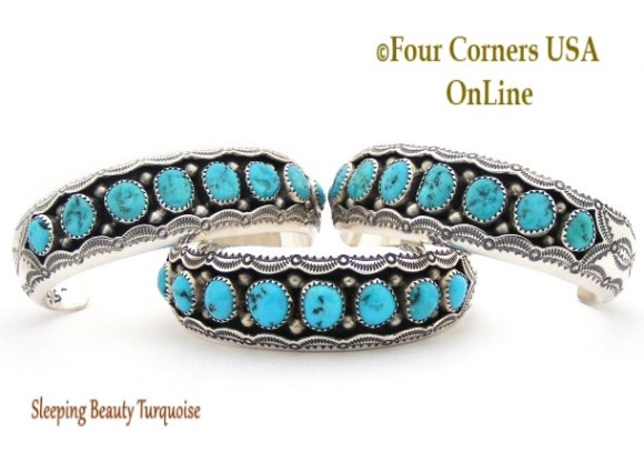 Sleeping Beauty Turquoise Navajo Cuff Bracelets Four Corners USA OnLine Native American Silver Jewelry