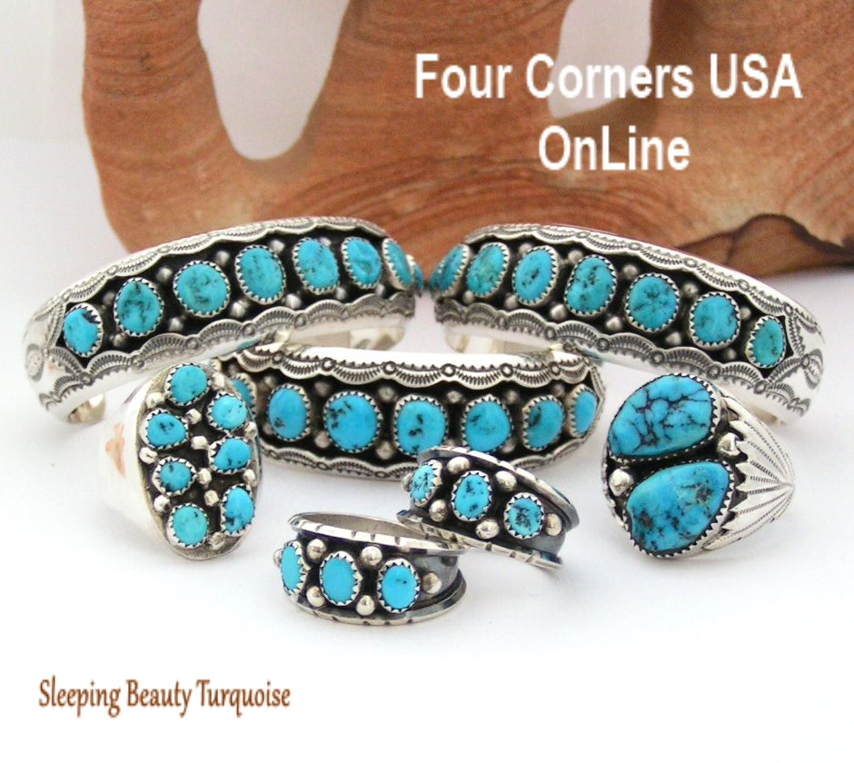 Sleeping Beauty Turquoise Cuff Bracelets Four Corners USA OnLine Native American Silver Jewelry