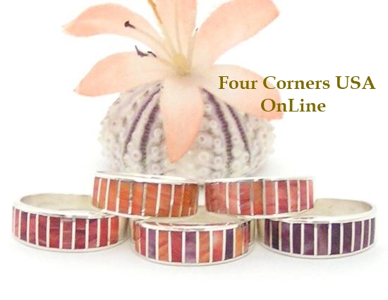 Spiny Oyster Inlay Band Rings by Navajo Ella Cowboy Four Corners USA OnLine Native American Jewelry