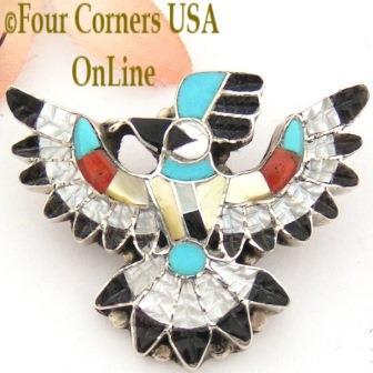 Thunderbird Inlay Pin Pendant Four Corners USA OnLine Native American Jewelry