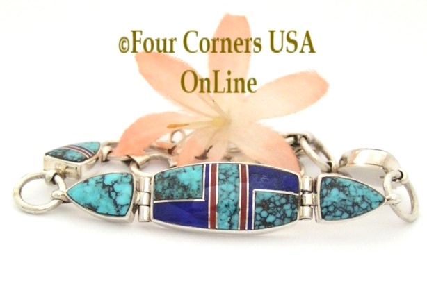 Spiderweb Turquoise Fine Inlay Adjustable Link Bracelet Shiela Tso Four Corners USA OnLine Native American Silver Jewelry