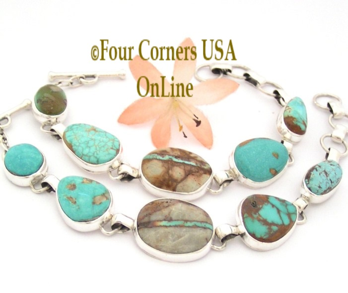 Multi Turquoise Mine Link Bracelet Four Corners USA OnLine Navajo Silver Jewelry