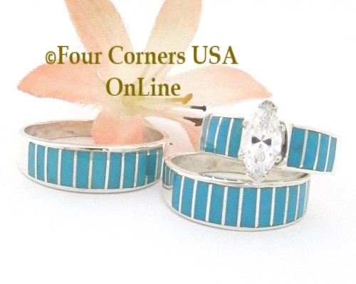 Turquoise Inlay Engagement Bridal Wedding Ring Sets Navajo Ella Cowboy Four Corners USA OnLine Native American Jewelry
