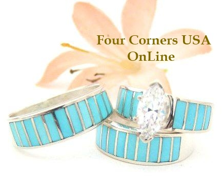 Turquoise Inlay Bridal Wedding Ring Sets by Ella Cowboy Four Corners USA OnLine Native American Indian Silver Jewelry