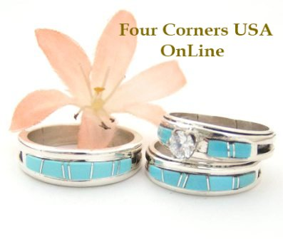 Turquoise Inlay Bridal Wedding Ring Sets by Navajo Wilbert Muskett Jr. Four Corners USA OnLine Native American Indian Silver Jewelry