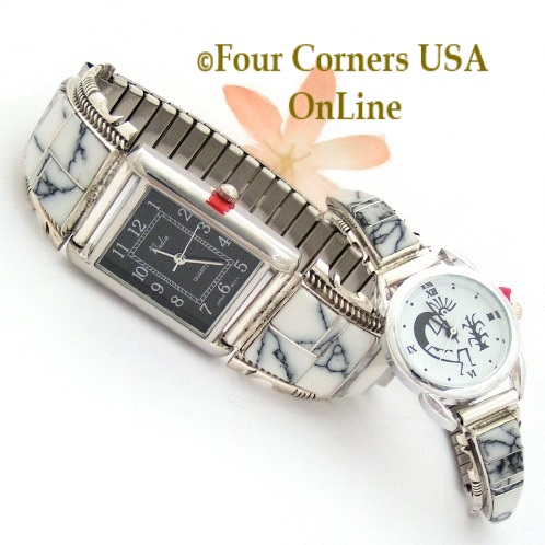 White Buffalo Sterling Silver Watches for Men and Women Four Corners USA OnLine Native American Jewelry