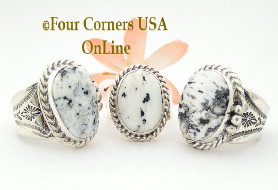 White Buffalo Turquoise Rings for Men and Women Four Corners USA OnLine Native American Jewelry