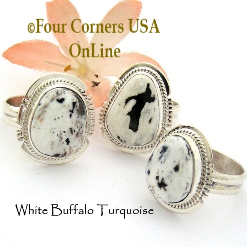 Size 7 White Buffalo Turquoise Ring Collection Four Corners USA OnLine Native American Navajo Silver Jewelry