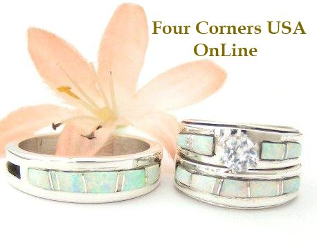 White Fire Opal Inlay Bridal Wedding Ring Sets by Wilbert Muskett Jr. Four Corners USA OnLine Native American Indian Silver Jewelry