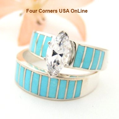 Turquoise Inlay Engagement Wedding Ring Set Four Corners USA OnLine Native American Jewelry