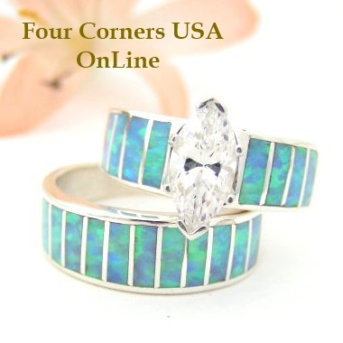 Custom Order Blue Fire Opal Wedding Set Four Corners USA Online Native American Jewelry