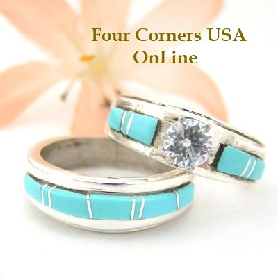 Navajo Inlay Turquoise Engagement Wedding Ring Set Four Corners USA OnLine Native American Silversmith Wilbert Muskett Jr