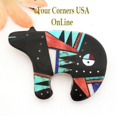 Zuni Inlay Bear Pin Pendant Four Corners USA OnLine Native American Jewelry